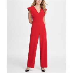 DKNY Womens Red V Neck Wear To Work Jumpsuit Size 4 (Red - 4), Women's(knit, Solid) found on Bargain Bro from Overstock for USD $22.02