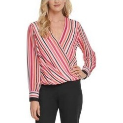 DKNY Womens Blouse Striped Faux Wrap - Pink Multi (L), Women's(polyester) found on Bargain Bro from Overstock for USD $27.19