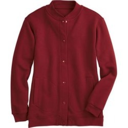 Haband Womens Snap-It-Up Fleece Jacket, Solid, Crimson Red, Size Misses, XL found on Bargain Bro Philippines from Haband for $12.99