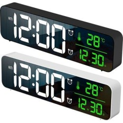 Ivy Bronx Luminous LED Silent Electronic Alarm Clock in White, Size 2.7559 H x 10.4331 W x 1.378 D in   Wayfair 78DC9BF303874557A6E3227371EAA67B found on Bargain Bro Philippines from Wayfair for $56.99