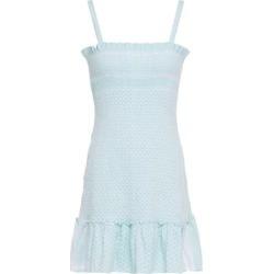 Cecilie Copenhagen Judith Fluted Shirred Cotton-jacquard Mini Dress - Blue - Cecilie Copenhagen Dresses found on MODAPINS from lyst.com for USD $84.00