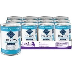 Blue Buffalo Basics Limited Ingredient Diet Grain-Free Whitefish Entrée Adult Canned Dog Food, 12.5-oz can, case of 12 found on Bargain Bro from Chewy.com for USD $25.13