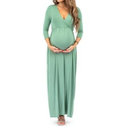 Mother Bee Maternity Women's Maxi Dresses SeaGreen - Sea Green Maternity Surplice Dress found on Bargain Bro from zulily.com for USD $12.91