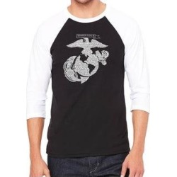 Los Angeles Pop Art Men's Raglan Baseball Word Art T-shirt - LYRICS TO THE MARINES HYMN (Black / White - xL) found on Bargain Bro India from Overstock for $23.84