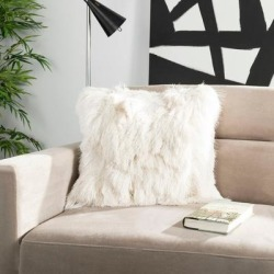 Safavieh Chic Silky Ivory Shag 20-inch Pillow(Polyester, Textured) found on Bargain Bro from Overstock for USD $34.95