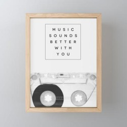 """Framed Mini Art Print   Music Sounds Better With You by Galaxy Eyes - Light Wood - 3"""" x 4"""" - Society6"""