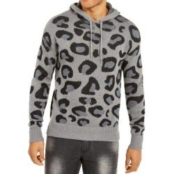INC Mens Sweater Gray Black Large L Hooded Leopard Brushed Knit Step-Hem (L), Men's found on Bargain Bro from Overstock for USD $16.40