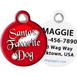 Dog Tag Art Santa's Favorite Personalized Dog & Cat ID Tag, Large