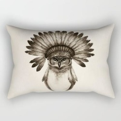 Rectangular Pillow | Owl Cheif by Isaiah Stephens - Small (17