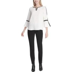 Calvin Klein Womens Hardware Pullover Blouse, White, Small (White - S), Women's(polyester) found on Bargain Bro Philippines from Overstock for $49.44