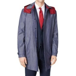 Tommy Hilfiger Mens Raincoat Blue Size 46R Twill Hooded Button-Front (46R), Men's found on Bargain Bro Philippines from Overstock for $170.98