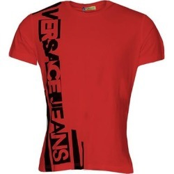 petite Versace Jeans Mens Red Logo Short Sleeve TShirt (S), Men's found on Bargain Bro from Overstock for USD $75.99