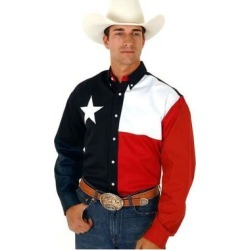 Roper Western Shirt Men L/S Button Texas Flag Navy (3XL), Men's, Blue(cotton) found on Bargain Bro India from Overstock for $49.94