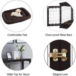 Unipaws Pet Crate End Table, Wooden Wire Dog Kennel with Pet Bed
