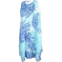 Calvin Klein Women's Floral-Print Trapeze Dress (6), Blue(polyester) found on Bargain Bro from Overstock for USD $41.03