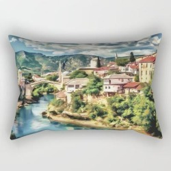 Rectangular Pillow   Mostar Old Bridge Painting, Old City Of Mostar Scenery, Stari Most Bosnia, Nature Travel Art Poster by Art Deco Tanydi - Small (17