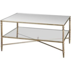 Uttermost Henzler Gold Leaf Mirrored Glass Coffee Table (Glass), Clear found on Bargain Bro Philippines from Overstock for $622.60
