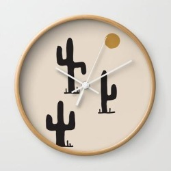 Wall Clock | Saguaro Silent Disco by Urban Wild Studio Supply - Natural - White - Society6 found on Bargain Bro from Society6 for USD $19.45
