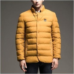 Man Solid Color Stand Collar Warm Cotton Coat Yellow M found on Bargain Bro Philippines from Overstock for $61.42