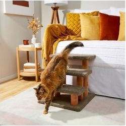 Frisco 20-in 3-Step Real Carpet Wooden Cat Steps, Gray