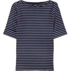 Ralph Lauren Womens Cuffed Pullover Blouse, Blue, Large found on Bargain Bro Philippines from Overstock for $26.59