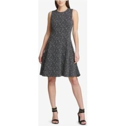 DKNY Black Sleeveless Knee Length Fit + Flare Dress Size 2 (Black - 2), Women's(knit, Print) found on Bargain Bro India from Overstock for $22.25