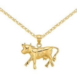 14K Yellow Gold Polished Cow Charm with 18-inch Cable Rope Chain by Versil (Size: 18 Inch - Yellow), Women's found on Bargain Bro Philippines from Overstock for $246.07