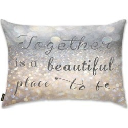 Oliver Gal 'Beautiful Place to Be' Decorative Throw Pillow, Gray, Oliver Gal Artist Co.(Microfiber, Quotes & Sayings) found on Bargain Bro from Overstock for USD $33.51