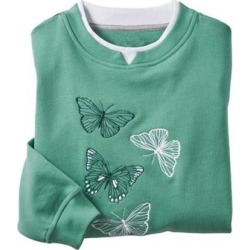 Haband Womens Embroidered Fleece Sweatshirt, Earth Green, Size XL found on Bargain Bro Philippines from Haband for $23.99