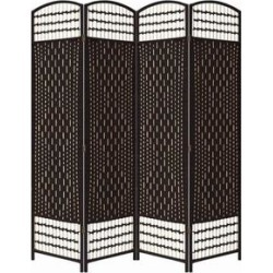 Wood and Paper Straw 4 Panel Screen with Nailhead Trim, Espresso Brown - 66.75 H x 1 W x 63.25 L Inches found on Bargain Bro Philippines from Overstock for $226.08