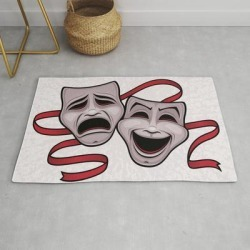 Comedy And Tragedy Theater Masks Modern Throw Rug by John Schwegel - 2' x 3' found on Bargain Bro India from Society6 for $34.30
