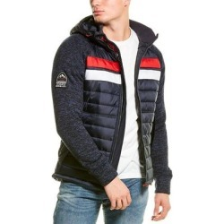 Superdry Storm Chest Stripe Hybrid Zip Hoodie (S), Men's, Blue(acrylic) found on Bargain Bro India from Overstock for $54.99