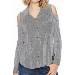 Splendid Womens Top Blue Medium M Button Down Cold Shoulder Pinstripe (M), Women's(rayon) found on Bargain Bro from Overstock for USD $9.87