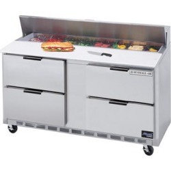 """Beverage Air SPED60-12C-4 60"""" 4 Drawer Cutting Top Refrigerated Sandwich Prep Table with 17"""" Wide Cutting"""
