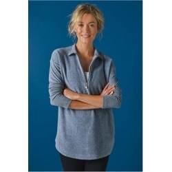 Women's Adalyn Pullover Top by Soft Surroundings, in Grey Blue Heather size XS (2-4)