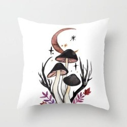 "Potion Mushrooms Couch Throw Pillow by Hannah Margaret Illustrations - Cover (16"" x 16"") with pillow insert - Indoor Pillow"