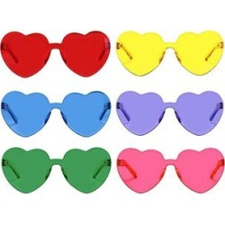 AOOFFIV Sunglasses Red+Yellow+Blue+Purple+Green+Pink - Bright Heart Sunglasses Set found on Bargain Bro from zulily.com for USD $15.19