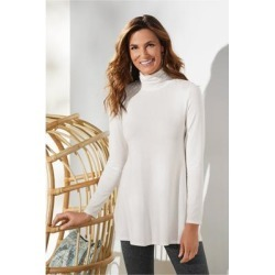 Women's Tahira Turtleneck Top by Soft Surroundings, in Ecru size XS (2-4)