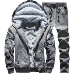 Men's Plus Size Thick Warm Hooded Jacket Plus Fleece To Keep Warm Men's Camouflage Sweater And Pants 2 Packs found on Bargain Bro Philippines from Overstock for $69.74