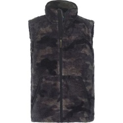 Smith's Workwear Men's Outerwear Vests BLACK - Black Camo Sherpa Full-Zip Vest - Men found on Bargain Bro Philippines from zulily.com for $14.99