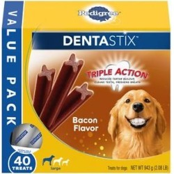 Pedigree Dentastix Bacon Flavor Large Dental Dog Treats, 40 count