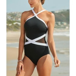 Anne Cole Women's One Piece Swimsuits BKWH - Black & White Mesh Insert High-Neck One-Piece - Women found on Bargain Bro India from zulily.com for $59.29