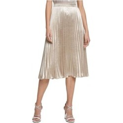 DKNY Womens Gold Below The Knee Knife Pleated Party Skirt Size 14 (Gold - 14), Women's(knit, check) found on Bargain Bro from Overstock for USD $28.86