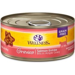 Wellness Natural Grain-Free Gravies Salmon Entree Canned Cat Food, 5.5-oz, case of 12