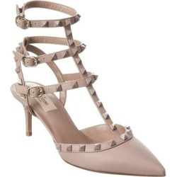 Valentino Rockstud Caged 65 Leather Ankle Strap Pump found on Bargain Bro from Overstock for USD $557.46