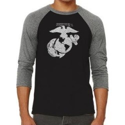 Los Angeles Pop Art Men's Raglan Baseball Word Art T-shirt - LYRICS TO THE MARINES HYMN (Black / Grey - l), Multicolor found on Bargain Bro India from Overstock for $23.84
