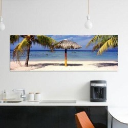 East Urban Home 'Sunshade on the Beach, La Boca, Cuba' Photographic Print on Canvas Canvas & Fabric in Blue/Brown, Size 20.0 H x 60.0 W x 0.75 D in found on Bargain Bro Philippines from Wayfair for $139.99