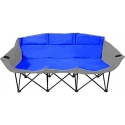 GoTEAM 3 Seat Portable Folding Bench/Couch - 3 seat bench (Blue/Gray) found on Bargain Bro from Overstock for USD $62.69