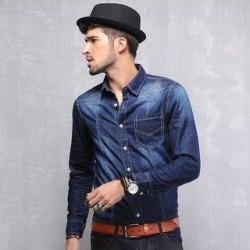 Men's Fashion Denim Shirt (XL), Blue found on MODAPINS from Overstock for USD $43.58