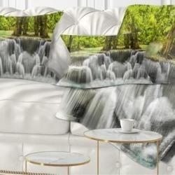 Designart 'Erawan Waterfall Kanchanaburi Province' Throw Pillow (Rectangle - 12 in. x 20 in. - Medium), Green, DESIGN ART(Polyester, Nature) found on Bargain Bro from Overstock for USD $27.35